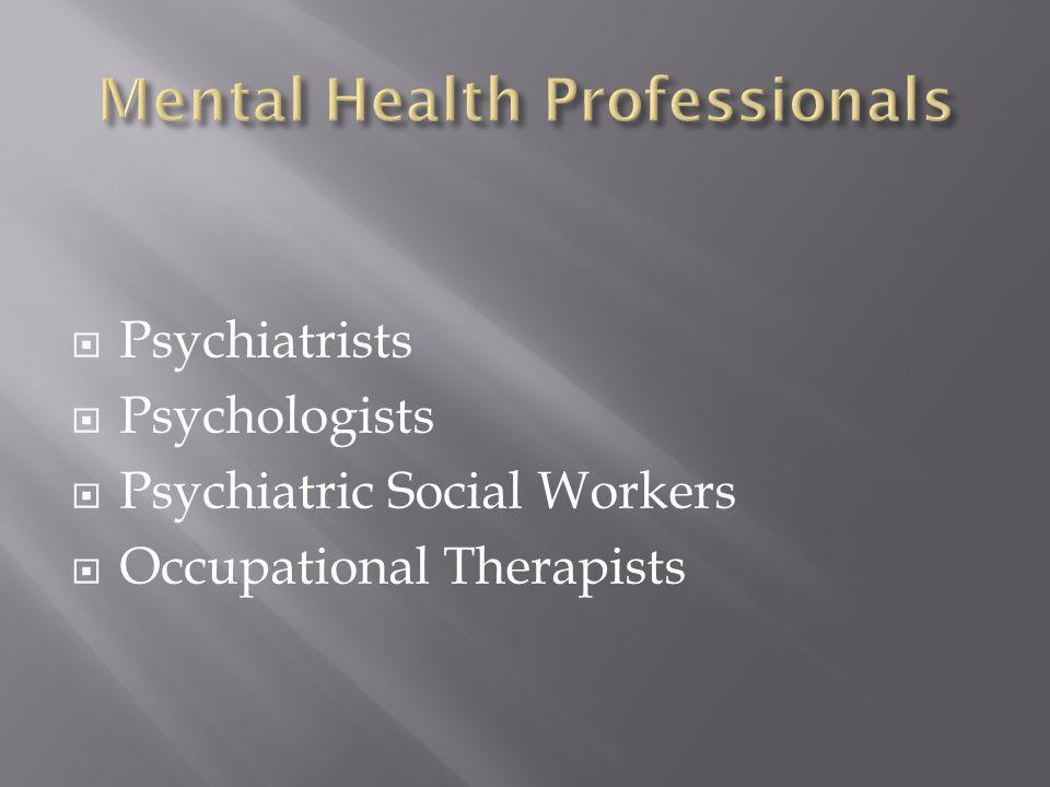 Psychiatrists Psychologists Psychiatric Social Workers Occupational Therapists