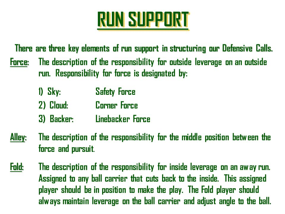 RUN SUPPORT RUN SUPPORT RUN SUPPORT RUN SUPPORT There are three key elements of run support in structuring our Defensive Calls. Force: Force:The descr