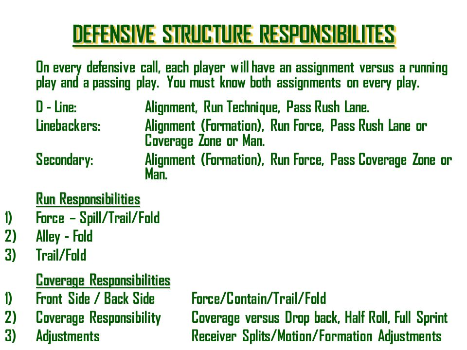 DEFENSIVE STRUCTURE RESPONSIBILITES DEFENSIVE STRUCTURE RESPONSIBILITES DEFENSIVE STRUCTURE RESPONSIBILITES DEFENSIVE STRUCTURE RESPONSIBILITES On eve