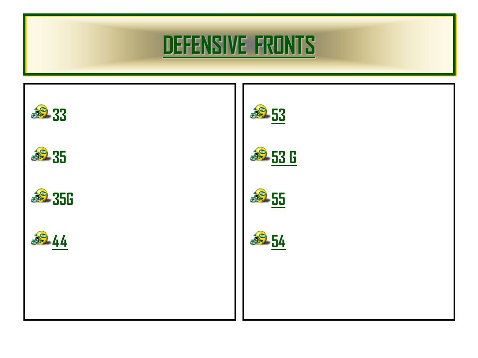 DEFENSIVE FRONTS DEFENSIVE FRONTS DEFENSIVE FRONTS DEFENSIVE FRONTS 33 35 35G 44 53 53 G 55 54