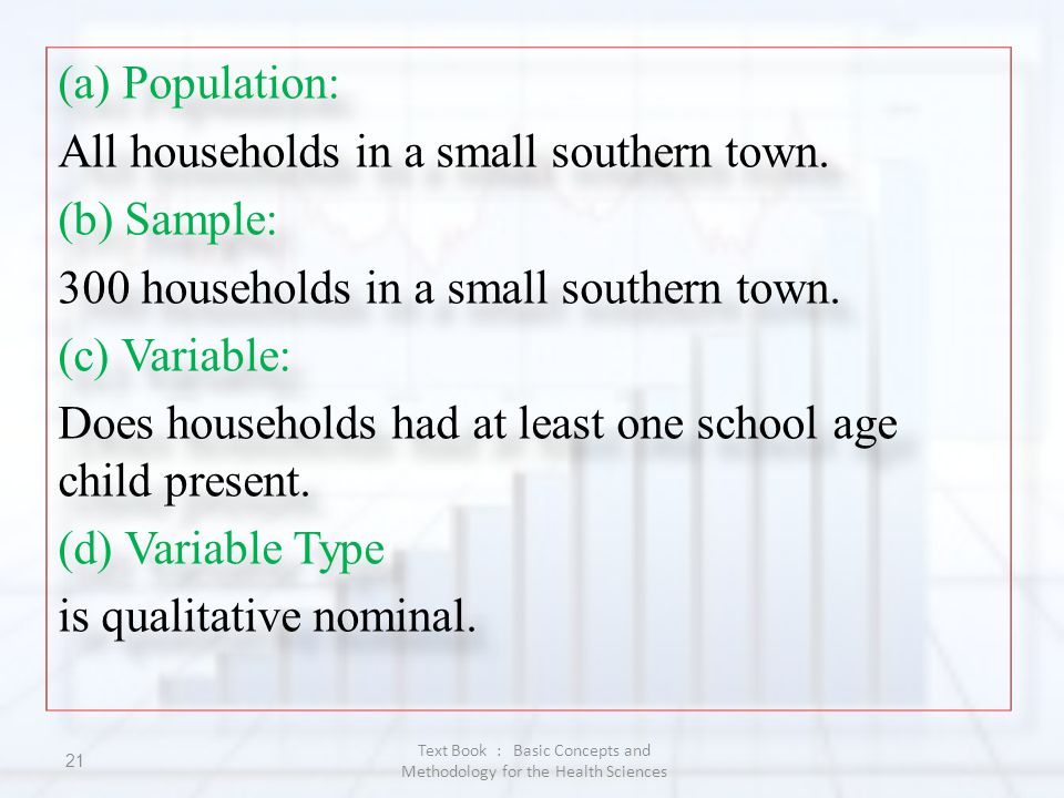 (a) Population: All households in a small southern town. (b) Sample: 300 households in a small southern town. (c) Variable: Does households had at lea