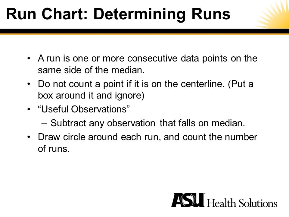 Run Chart: Determining Runs A run is one or more consecutive data points on the same side of the median.