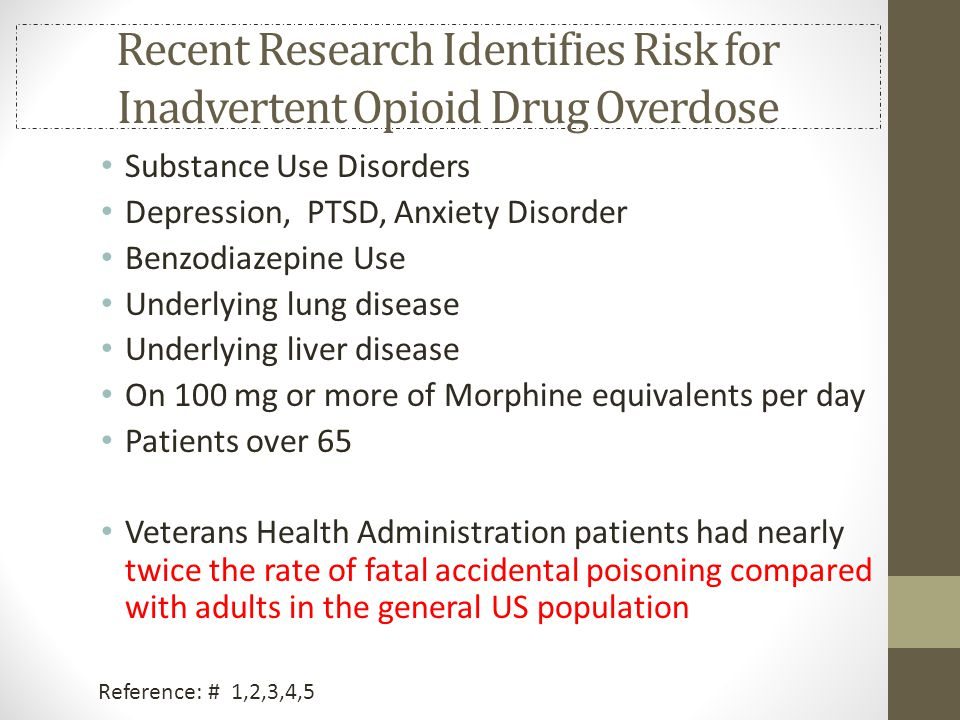 Recent Research Identifies Risk for Inadvertent Opioid Drug Overdose Substance Use Disorders Depression, PTSD, Anxiety Disorder Benzodiazepine Use Und