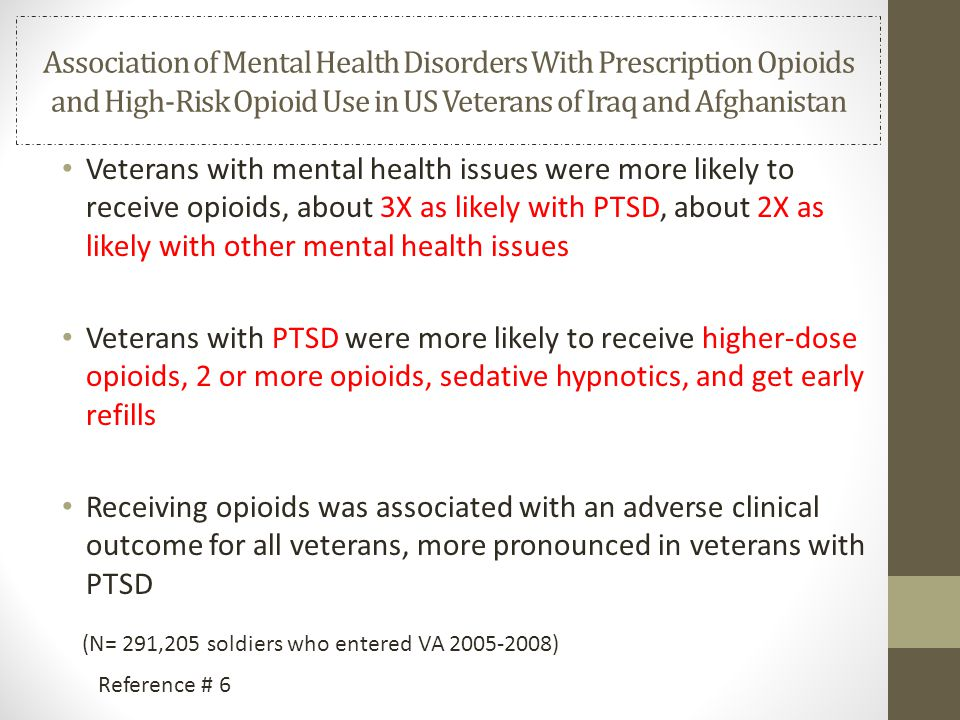 Association of Mental Health Disorders With Prescription Opioids and High-Risk Opioid Use in US Veterans of Iraq and Afghanistan Veterans with mental