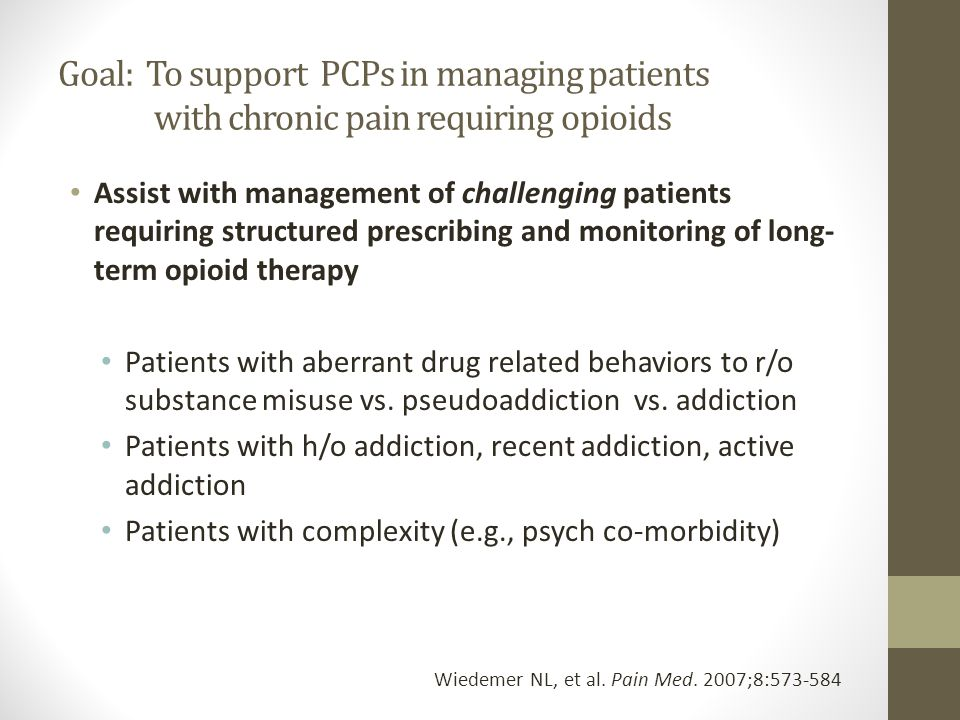 Pharmacy Pain Management Clinic Procedure 1 FTE Clinical Pharmacist Elligiblity Work-up & Pain Diagnosis Opioid Treatment Agreement Baseline Urine Drug Test PCP CONTINUES TO BE RESPONSIBLE TO PRESCRIBE OPIOID Strategies Individualized Opioid Treatment Agreement Frequent Visits Prescribing opioids on short term basis i.e.