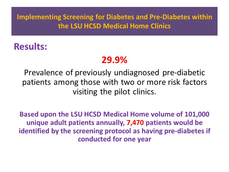 Results: 29.9% Prevalence of previously undiagnosed pre-diabetic patients among those with two or more risk factors visiting the pilot clinics.