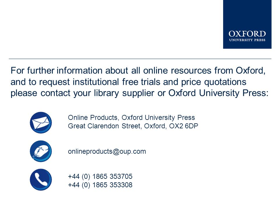 You can see similar presentations on other Oxford University Press online resources in the Librarian Resource Centre.