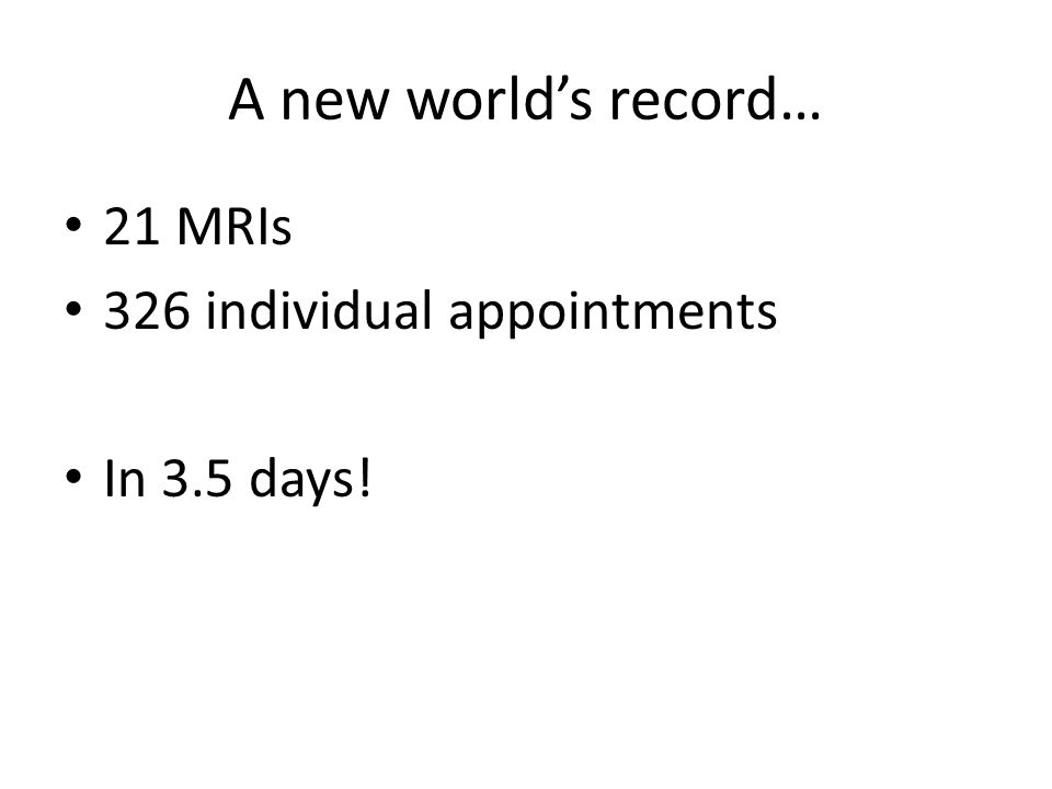 A new worlds record… 21 MRIs 326 individual appointments In 3.5 days!