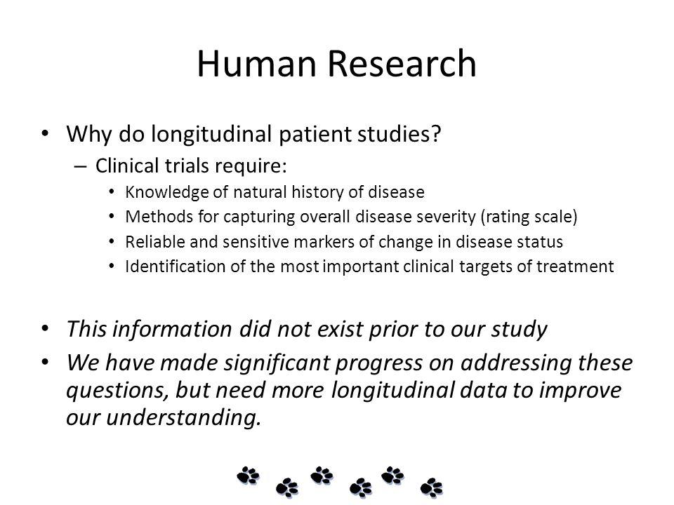 Human Research Why do longitudinal patient studies.