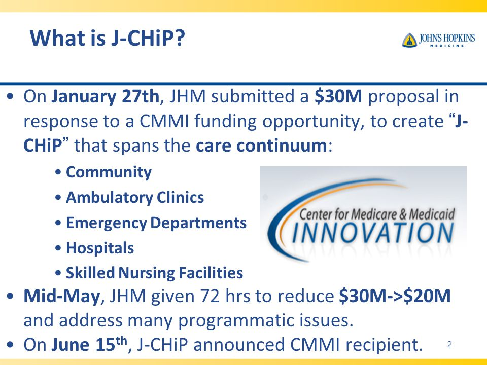 On January 27th, JHM submitted a $30M proposal in response to a CMMI funding opportunity, to create J- CHiP that spans the care continuum: Community A
