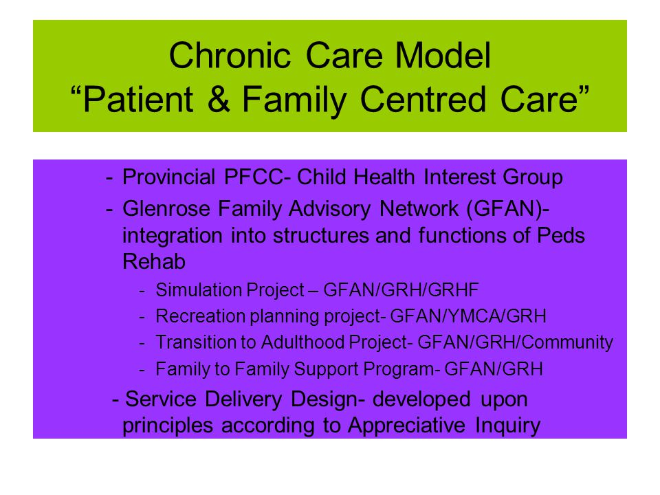 Chronic Care Model Patient & Family Centred Care -Provincial PFCC- Child Health Interest Group -Glenrose Family Advisory Network (GFAN)- integration into structures and functions of Peds Rehab -Simulation Project – GFAN/GRH/GRHF -Recreation planning project- GFAN/YMCA/GRH -Transition to Adulthood Project- GFAN/GRH/Community -Family to Family Support Program- GFAN/GRH - Service Delivery Design- developed upon principles according to Appreciative Inquiry