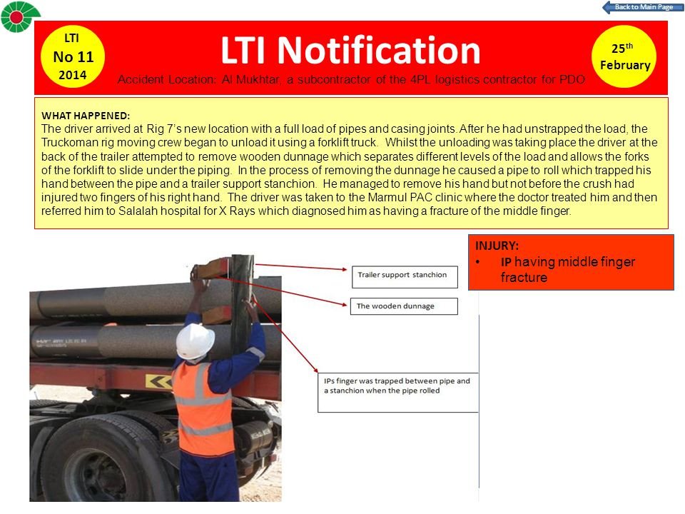 LTI Notification 25 th February LTI No 11 2014 WHAT HAPPENED: The driver arrived at Rig 7s new location with a full load of pipes and casing joints. A