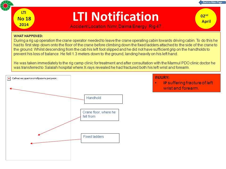 LTI Notification WHAT HAPPENED: During a rig up operation the crane operator needed to leave the crane operating cabin towards driving cabin. To do th