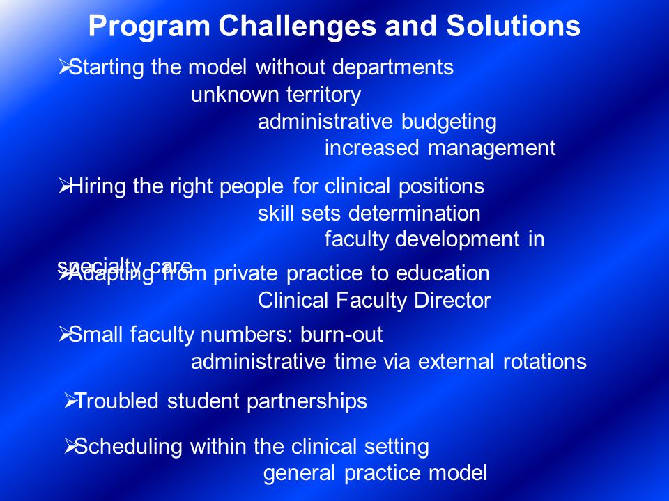 Program Challenges and Solutions Starting the model without departments unknown territory administrative budgeting increased management Hiring the right people for clinical positions skill sets determination faculty development in specialty care Small faculty numbers: burn-out administrative time via external rotations Troubled student partnerships Adapting from private practice to education Clinical Faculty Director Scheduling within the clinical setting general practice model
