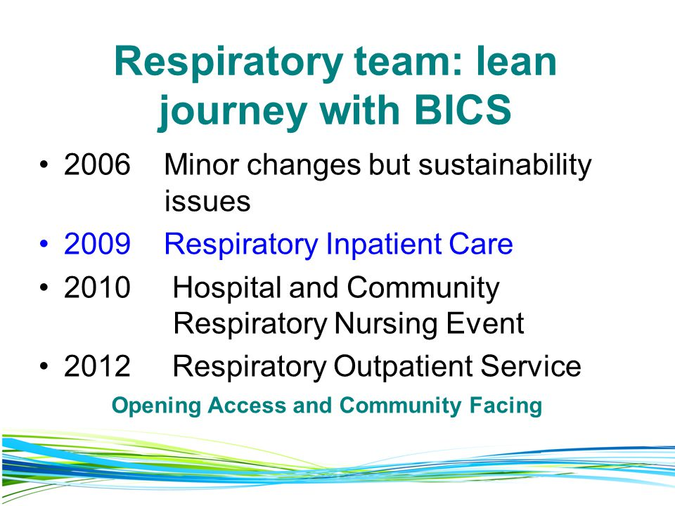 Respiratory team: lean journey with BICS 2006 Minor changes but sustainability issues 2009 Respiratory Inpatient Care 2010 Hospital and Community Respiratory Nursing Event 2012 Respiratory Outpatient Service Opening Access and Community Facing
