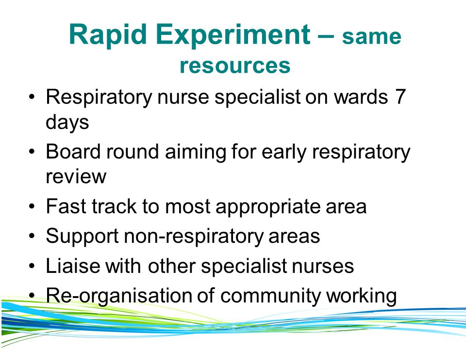Rapid Experiment – same resources Respiratory nurse specialist on wards 7 days Board round aiming for early respiratory review Fast track to most appropriate area Support non-respiratory areas Liaise with other specialist nurses Re-organisation of community working
