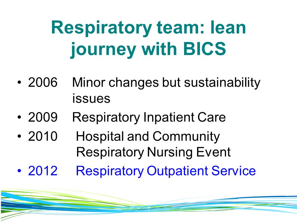 Respiratory team: lean journey with BICS 2006 Minor changes but sustainability issues 2009 Respiratory Inpatient Care 2010 Hospital and Community Respiratory Nursing Event 2012 Respiratory Outpatient Service