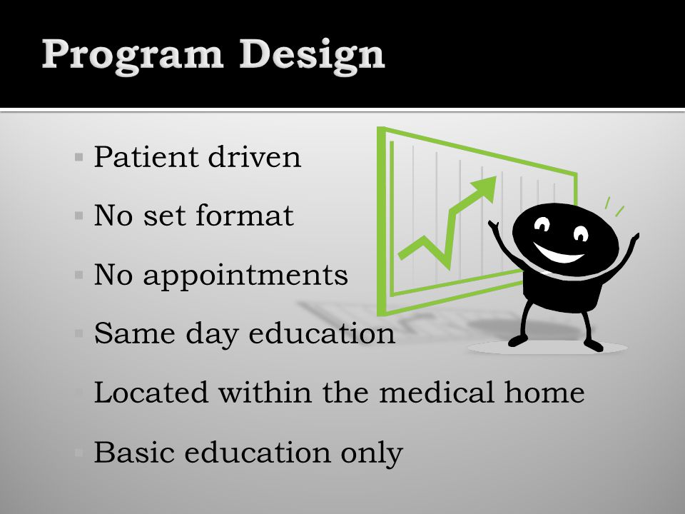 Patient driven No set format No appointments Same day education Located within the medical home Basic education only