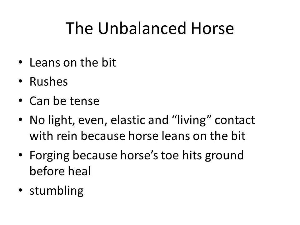 The Unbalanced Horse Leans on the bit Rushes Can be tense No light, even, elastic and living contact with rein because horse leans on the bit Forging because horses toe hits ground before heal stumbling