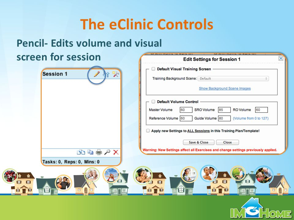 The eClinic Controls Pencil- Edits volume and visual screen for session