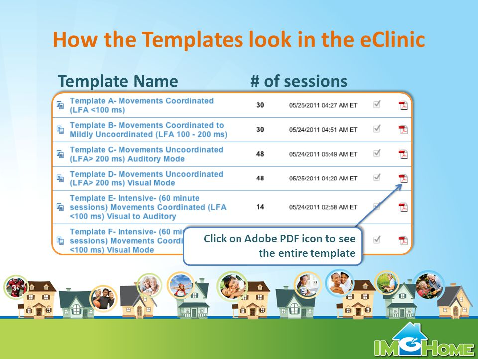 How the Templates look in the eClinic Template Name# of sessions Click on Adobe PDF icon to see the entire template