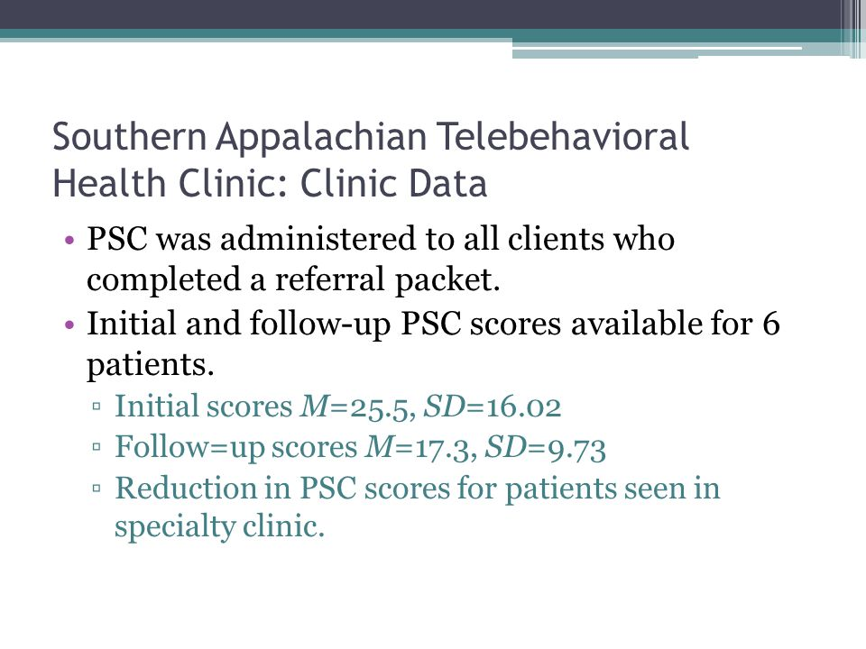 Southern Appalachian Telebehavioral Health Clinic: Clinic Data PSC was administered to all clients who completed a referral packet.