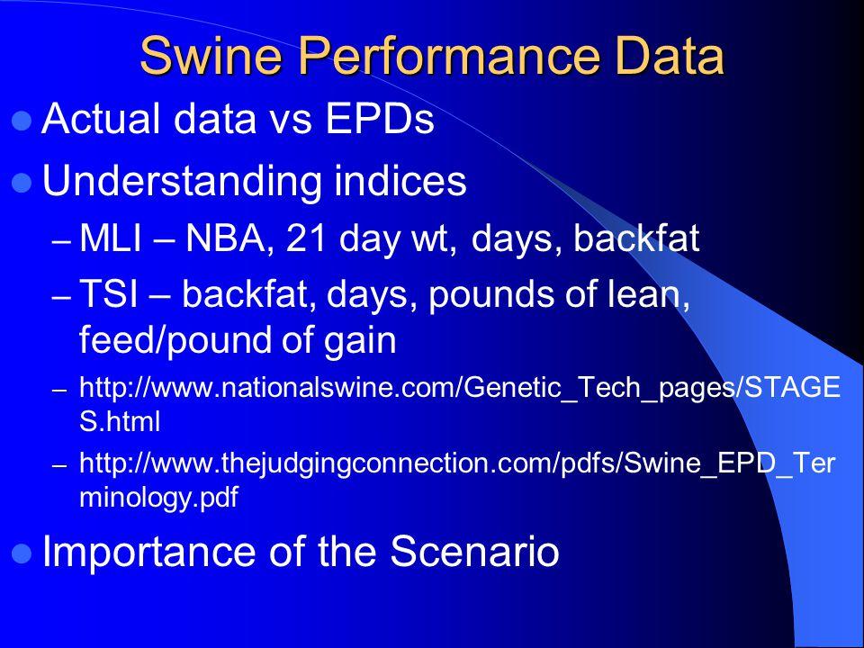 Swine Performance Data Actual data vs EPDs Understanding indices – MLI – NBA, 21 day wt, days, backfat – TSI – backfat, days, pounds of lean, feed/pou