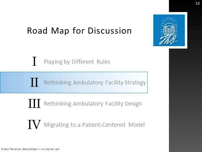 © 2011 The Advisory Board Company www.advisory.com I II III IV Road Map for Discussion 12 Playing by Different Rules Rethinking Ambulatory Facility St