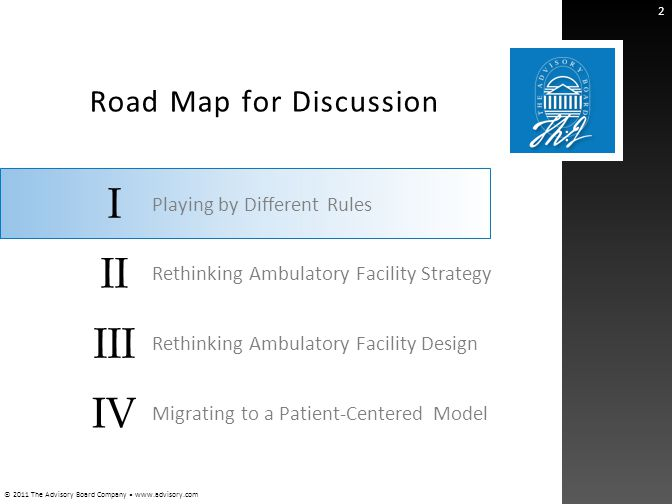 © 2011 The Advisory Board Company www.advisory.com I II III IV Road Map for Discussion 2 Playing by Different Rules Rethinking Ambulatory Facility Str