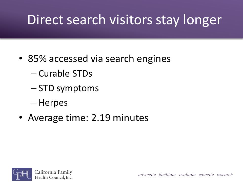 advocate facilitate evaluate educate research Direct search visitors stay longer 85% accessed via search engines – Curable STDs – STD symptoms – Herpes Average time: 2.19 minutes