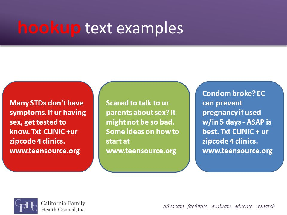 advocate facilitate evaluate educate research hookup text examples Many STDs dont have symptoms.