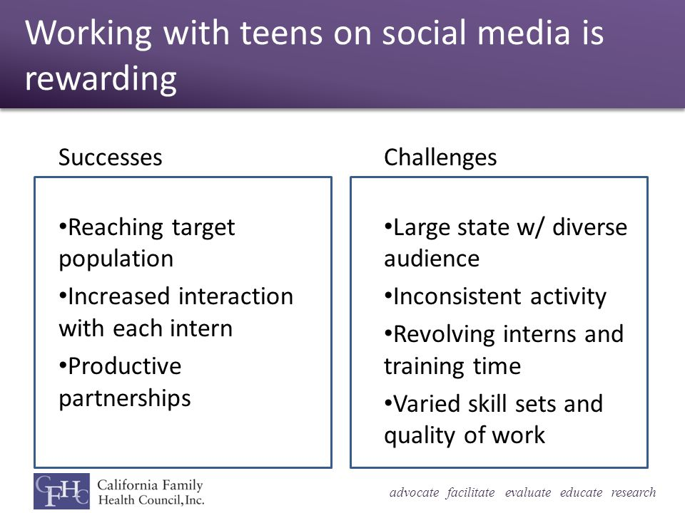 advocate facilitate evaluate educate research Working with teens on social media is rewarding Successes Reaching target population Increased interaction with each intern Productive partnerships Challenges Large state w/ diverse audience Inconsistent activity Revolving interns and training time Varied skill sets and quality of work
