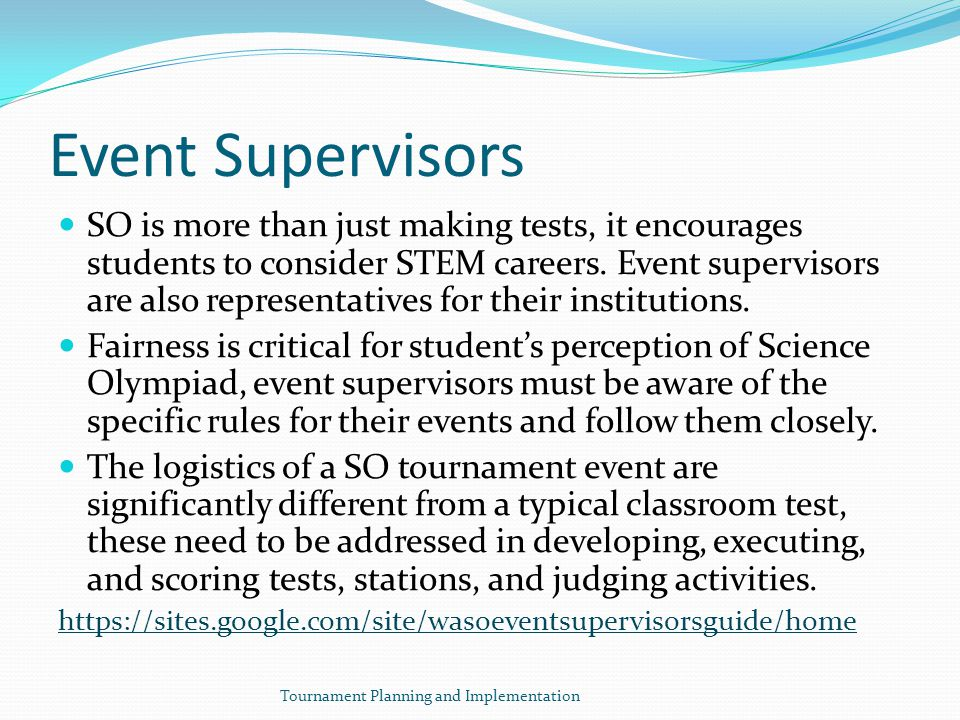 Event Supervisors SO is more than just making tests, it encourages students to consider STEM careers.