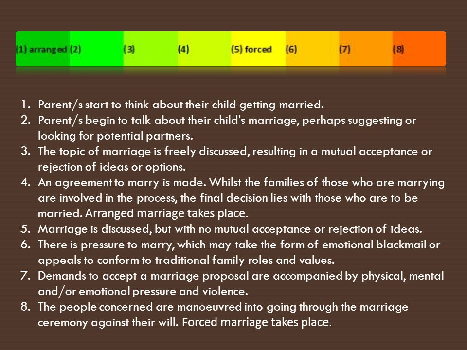 Forced Marriage involves coercion In a forced marriage, one or both individuals are coerced into giving their consent.