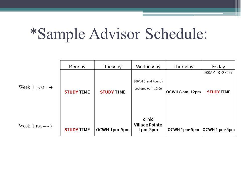 *Sample Advisor Schedule: Week 1 AM---- Week 1 PM ----- MondayTuesdayWednesdayThursdayFriday 700AM DOG Conf 800AM Grand Rounds STUDY TIME Lectures 9am