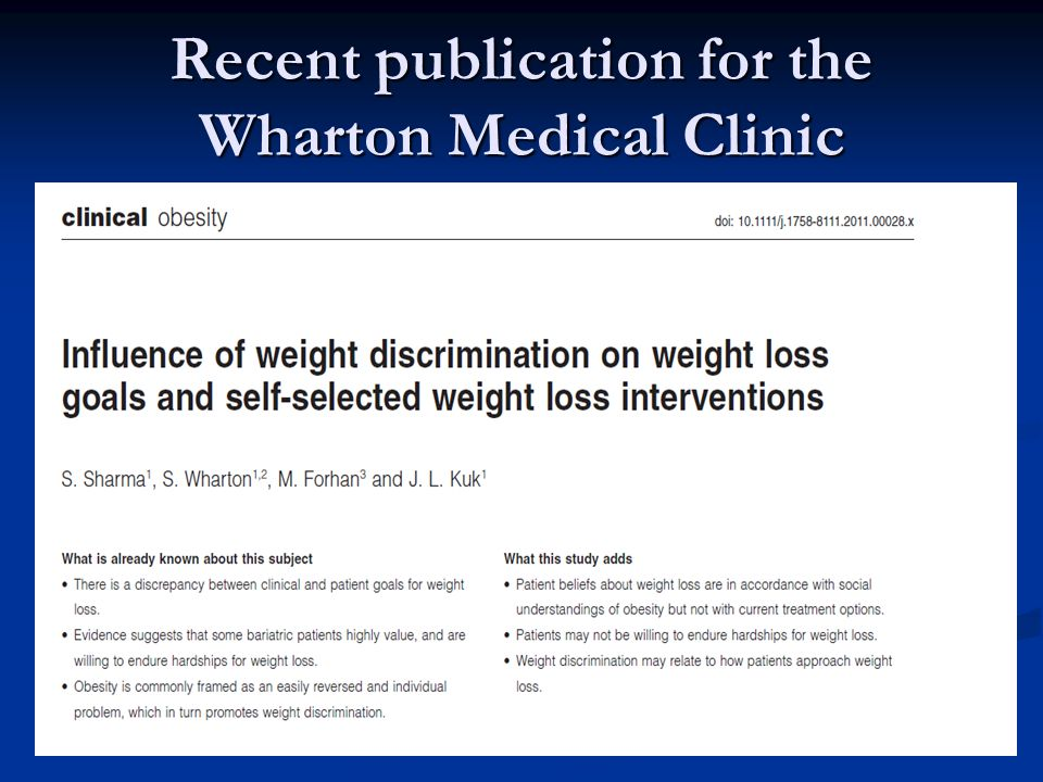 Recent publication for the Wharton Medical Clinic