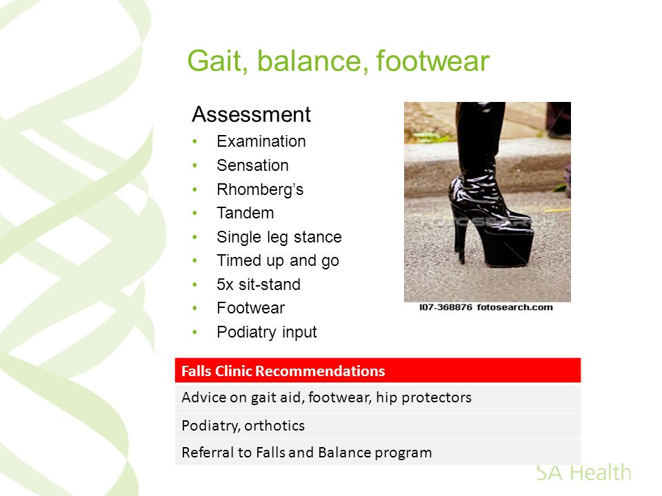 Gait, balance, footwear Assessment Examination Sensation Rhombergs Tandem Single leg stance Timed up and go 5x sit-stand Footwear Podiatry input Falls Clinic Recommendations Advice on gait aid, footwear, hip protectors Podiatry, orthotics Referral to Falls and Balance program