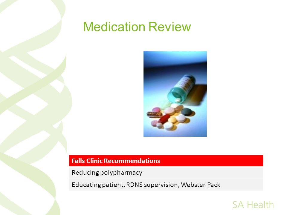 Medication Review Falls Clinic Recommendations Reducing polypharmacy Educating patient, RDNS supervision, Webster Pack