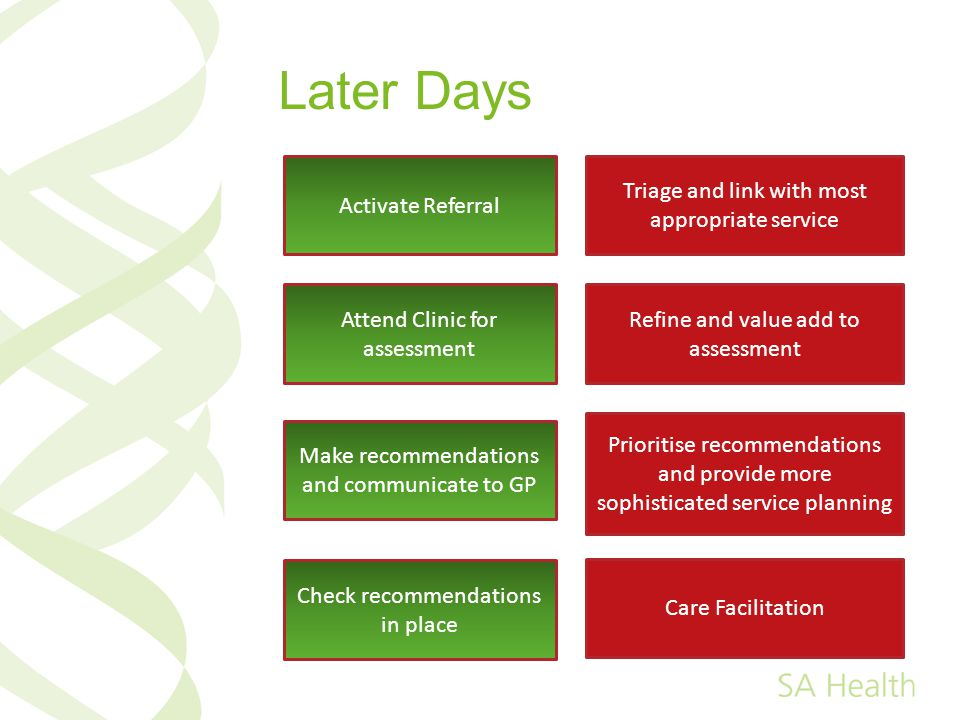 Later Days Activate Referral Attend Clinic for assessment Make recommendations and communicate to GP Check recommendations in place Triage and link with most appropriate service Refine and value add to assessment Prioritise recommendations and provide more sophisticated service planning Care Facilitation