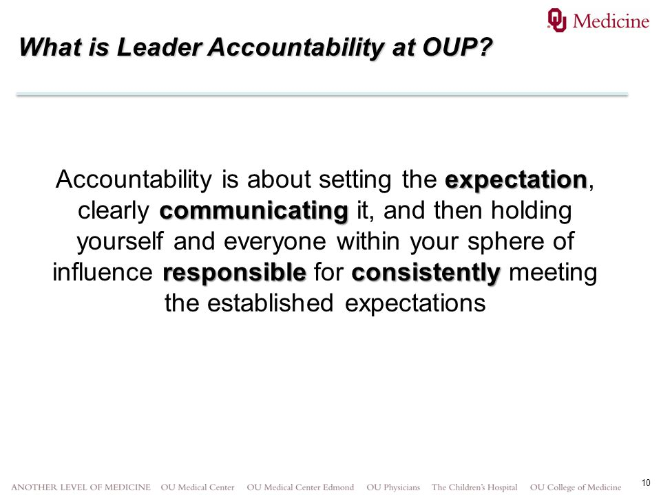 10 What is Leader Accountability at OUP? expectation communicating responsibleconsistently Accountability is about setting the expectation, clearly co