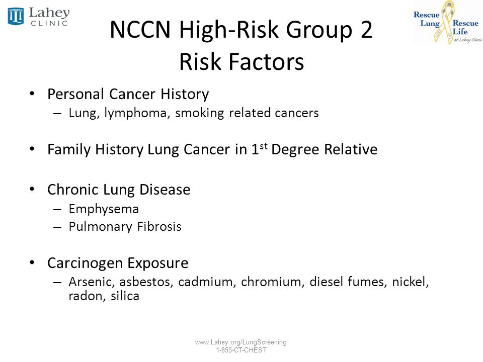 www.Lahey.org/LungScreening 1-855-CT-CHEST NCCN High-Risk Group 2 Risk Factors Personal Cancer History – Lung, lymphoma, smoking related cancers Famil