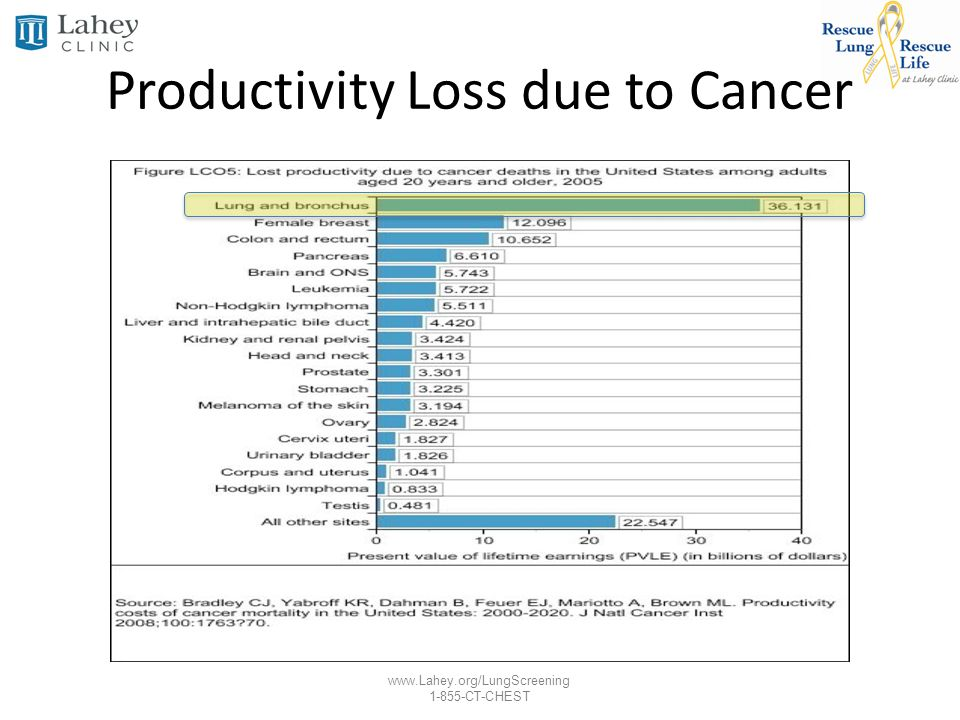 www.Lahey.org/LungScreening 1-855-CT-CHEST Productivity Loss due to Cancer