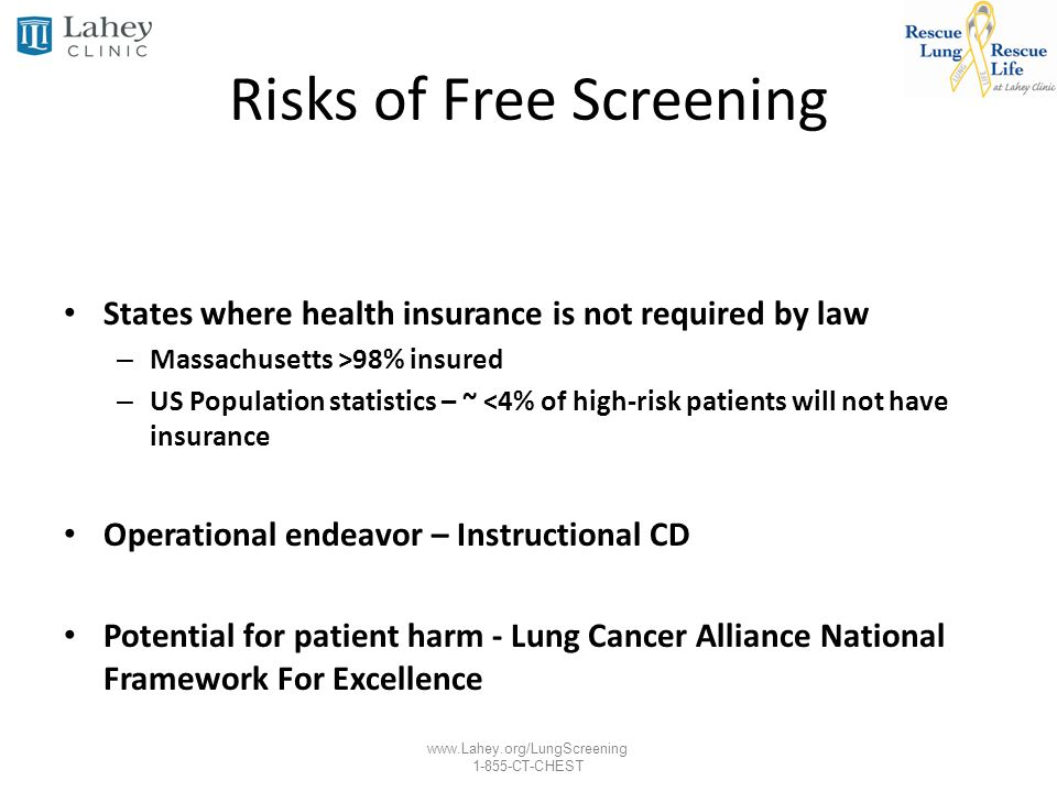 www.Lahey.org/LungScreening 1-855-CT-CHEST Risks of Free Screening States where health insurance is not required by law – Massachusetts >98% insured –