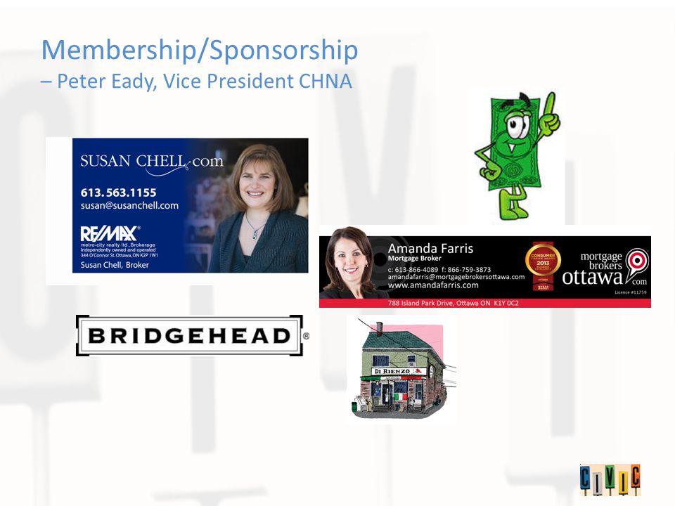 Membership/Sponsorship – Peter Eady, Vice President CHNA