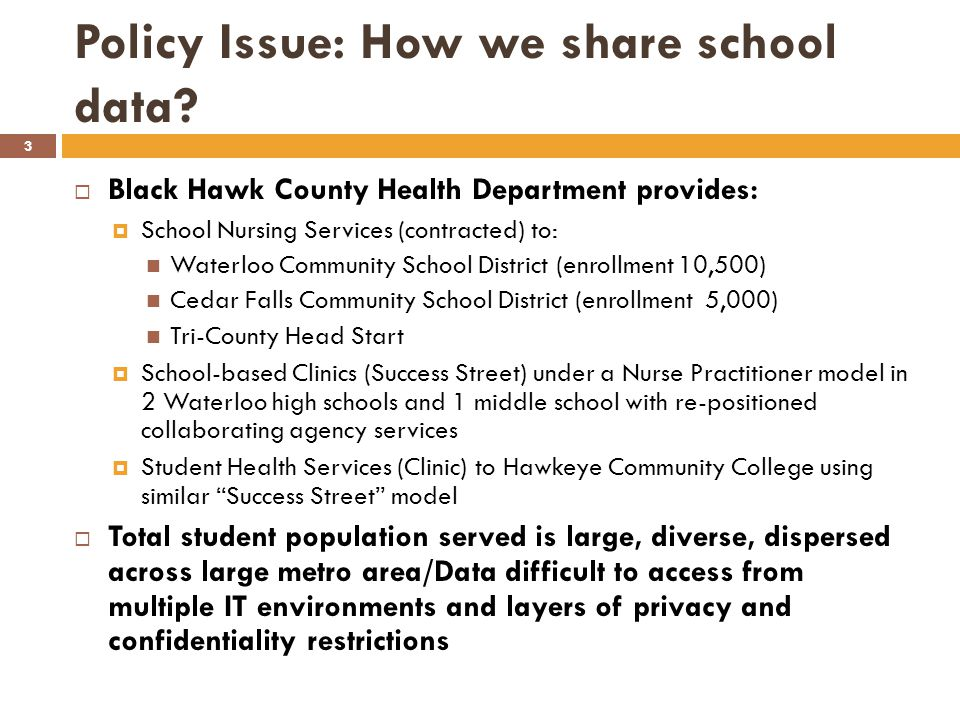 Policy Issue: How we share school data.