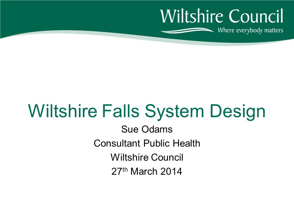 Presentation Background- Wiltshire Falls in Wiltshire Current System BVHC Work Current position Future