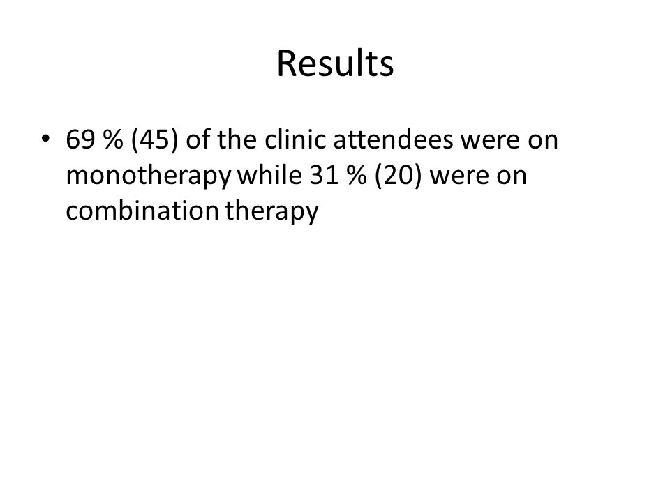 Results 69 % (45) of the clinic attendees were on monotherapy while 31 % (20) were on combination therapy
