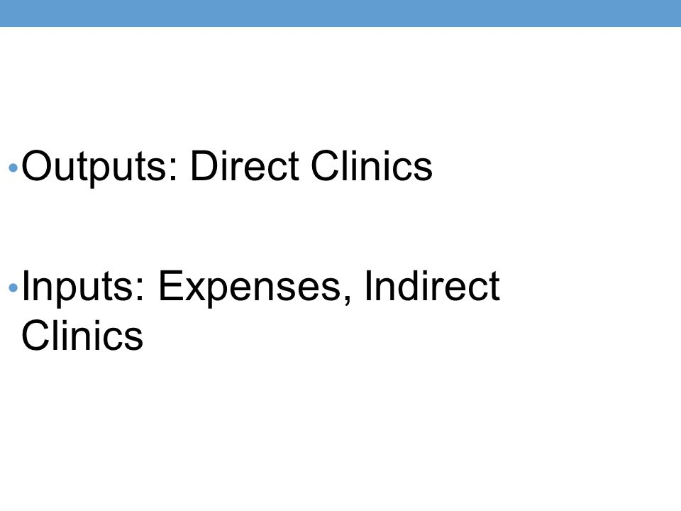 Outputs: Direct Clinics Inputs: Expenses, Indirect Clinics