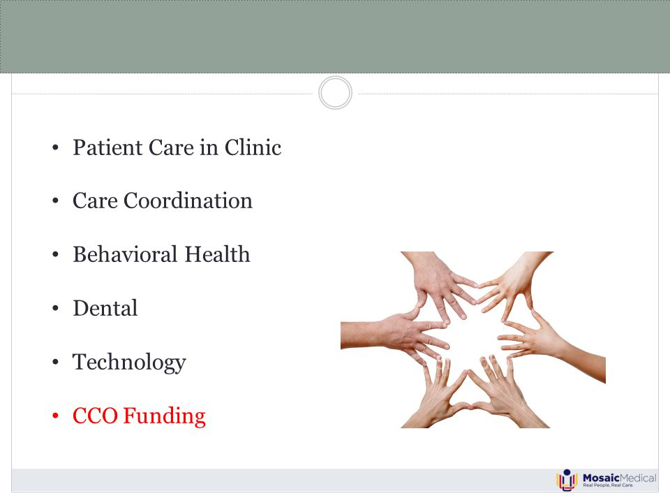 Patient Care in Clinic Care Coordination Behavioral Health Dental Technology CCO Funding