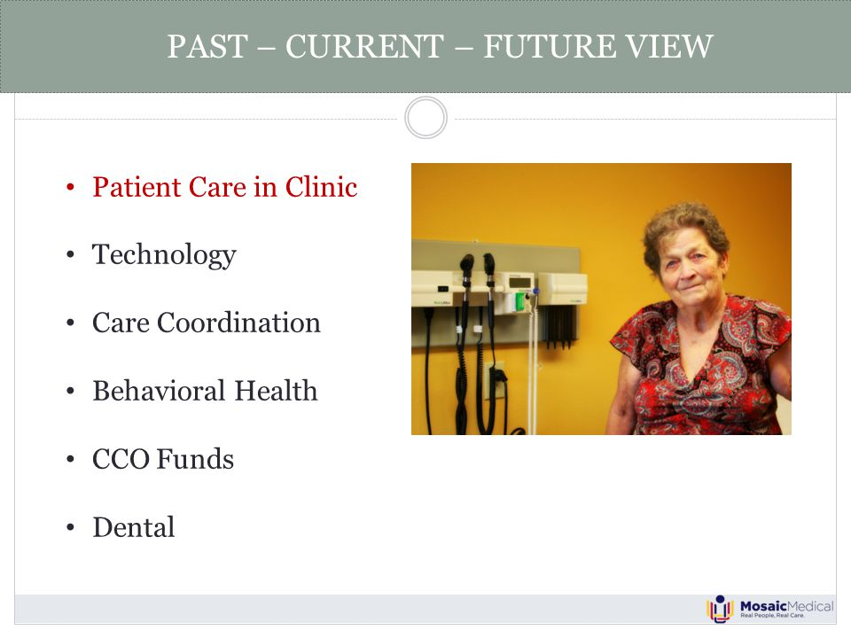Patient Care in Clinic Technology Care Coordination Behavioral Health CCO Funds Dental PAST – CURRENT – FUTURE VIEW